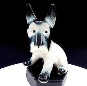 JAPANESE-PORCELAIN-GREENISH-BLACK-amp-WHITE-SCOTTIE-DOG-5-5-8-034-FIGURINE