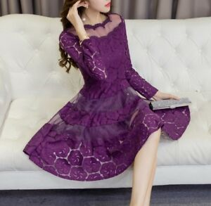 Women-Korean-Elegant-A-Line-Dress-Scoop-Neck-Long-Sleeve-High-Waist-Lace-Dresses