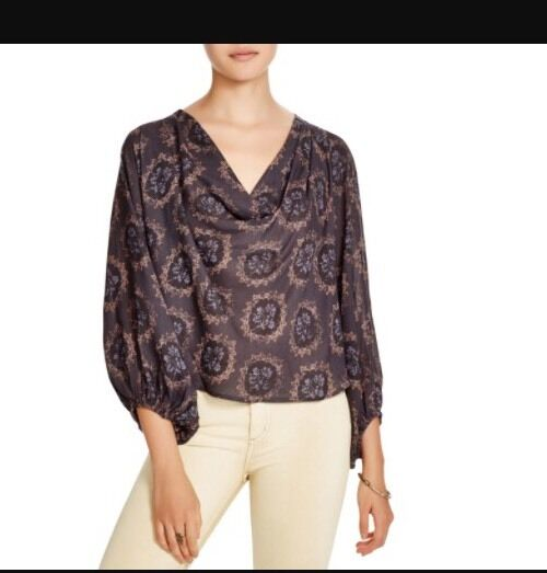 Free People Long Sleeve Top Blouse Relaxed Fit Midnight Combo S  NWT