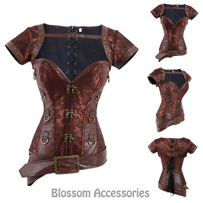CC72 Steampunk Overbust Boned Corset Leather Gothic Halloween Top Jacket
