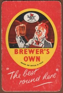 Playing-Cards-Single-Card-Old-WELSH-Brewery-Advertising-Art-Man-BREWERS-OWN-Beer