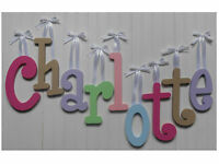 """Wood Wall Letters 8"""" size Painted Wooden Names Children Nursery Playroom Decor"""