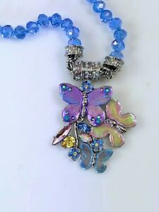 Kirks-Folly-Forget-Me-Not-Crystal-Butterfly-Magnetic-Necklace-Silvertone