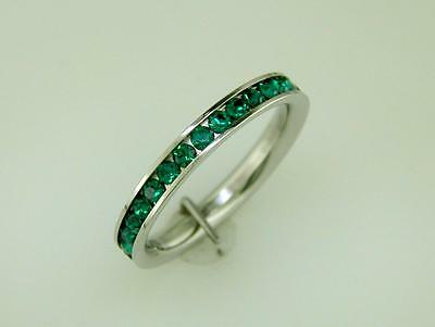 Emerald Green CZ Stackable Eternity Band Comfort Fit Stainless Steel