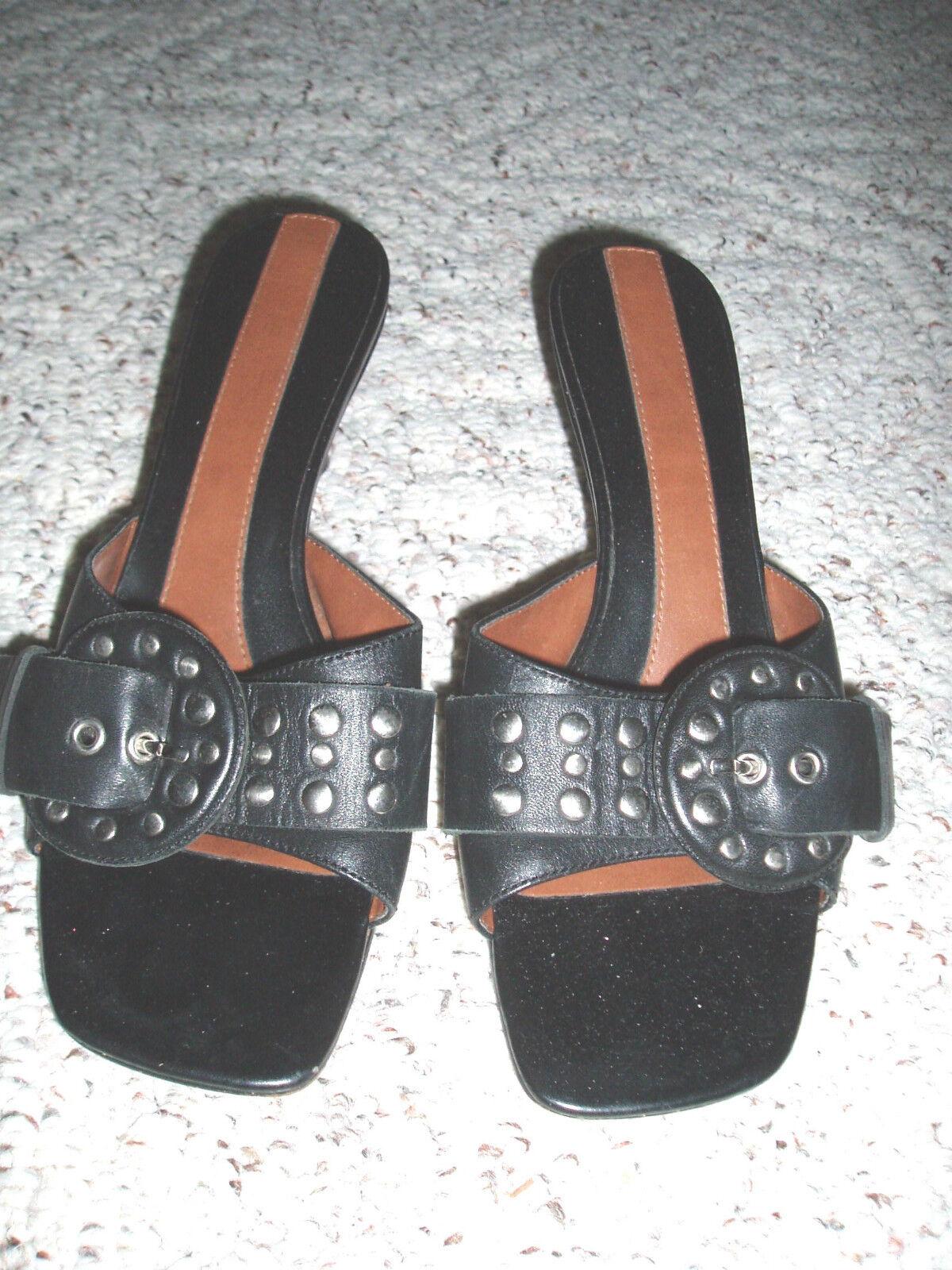 Leather Kitten NINE WEST Stud Buckle Kitten Leather Heel Slide Sandal Shoes~Black~6.5 6c941e