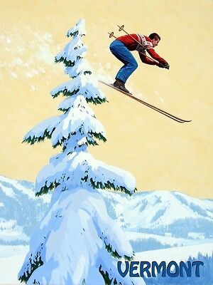 Ski Skiing Jumping Mountains of Vermont Sport Fine Vintage Poster Repro FREE S/H