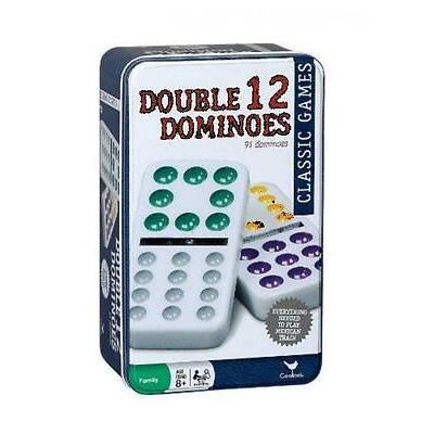 Cardinal Double 12 Color Dot Mexican Train Dominoes in Tin, Free Shipping, New