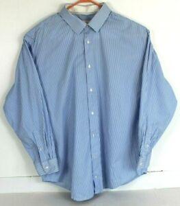 Robert-Graham-Mens-50-20-36-37-Tall-Blue-White-Striped-Button-Front-Shirt-L-S