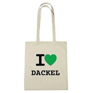 Umwelttasche - I love DACKEL - Jutebeutel Ökotasche - Farbe: natur
