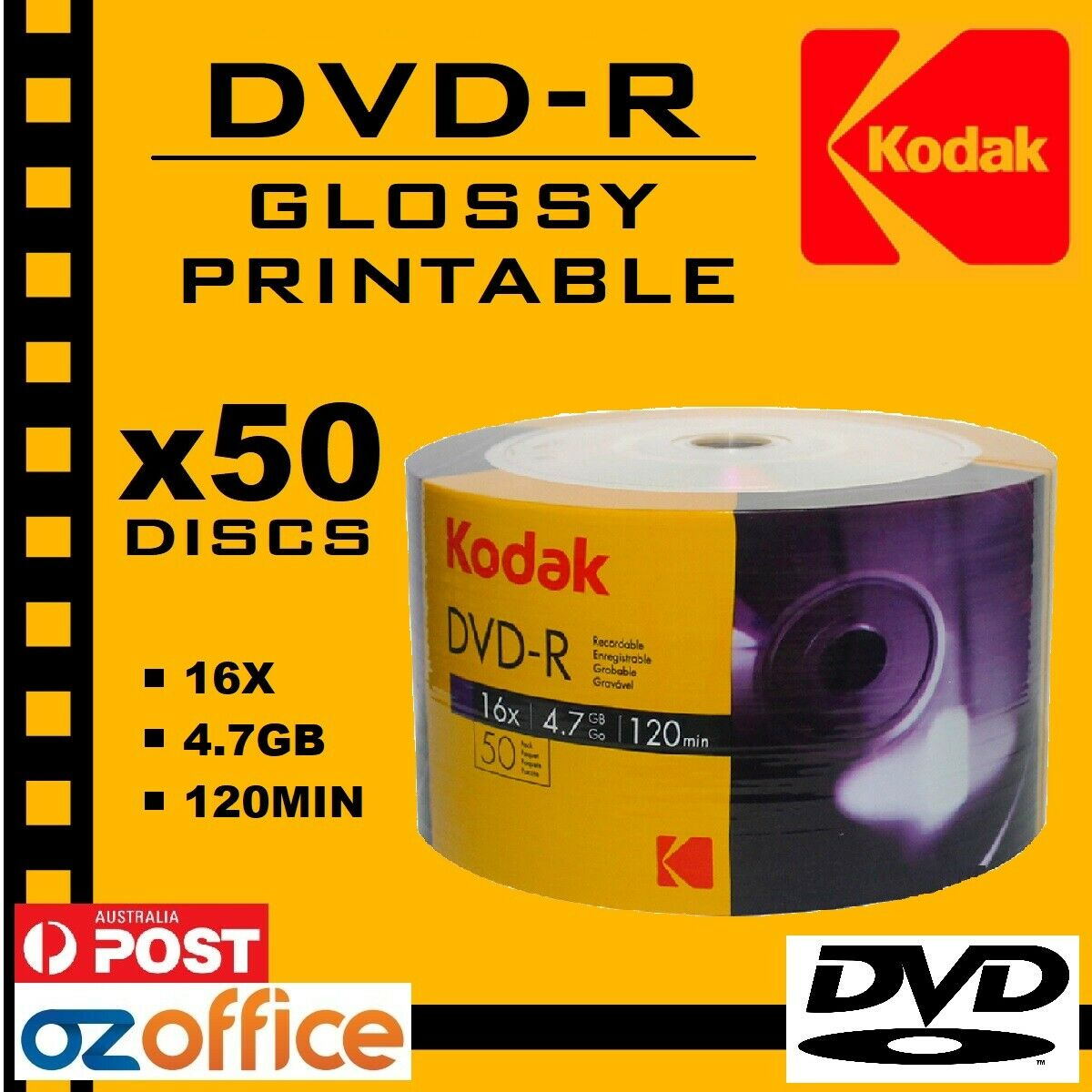 graphic regarding Printable Dvd Discs identify Information and facts around Top quality 100 x Kodak DVD-R Shiny PRINTABLE DVD 16X 4.7GB A+ Quality Blank DVD Disc