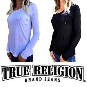 TRUE-RELIGION-Long-Sleeve-Shirt-LS-Scoop-Black-White-Bling-Tee-T-shirt-XS-S-M-L
