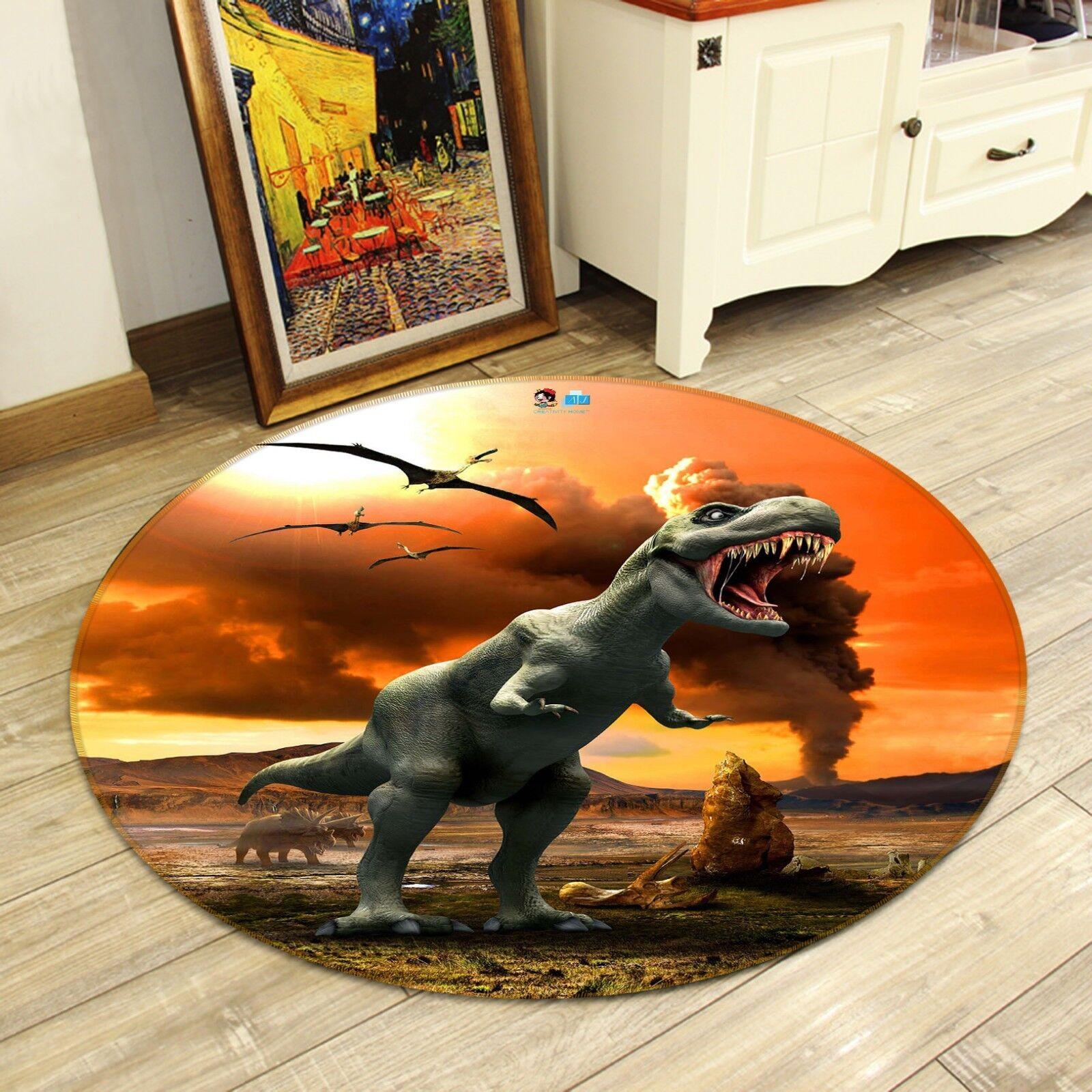 3D Dinosauro 44 tappetino antiscivolo tappeto camera Tappetino Tondo Qualità Elegante foto Tappeto UK