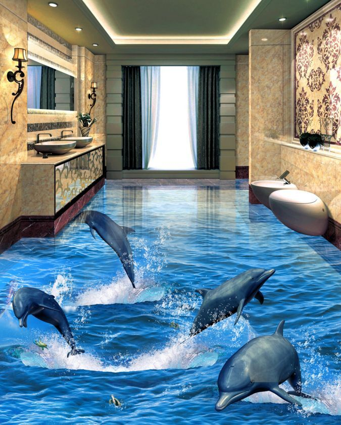 3D Jumping Dolphin Floor WallPaper Murals Wall Print Decal 5D AJ WALLPAPER