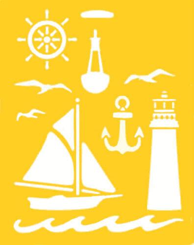nautical stencil ship steering wheel sailboat anchor lighthouse