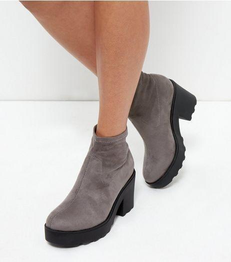 NEW LOOK gris en suédine Plateforme Cheville Bottes UK 8 EU 41 NH091 AE 09