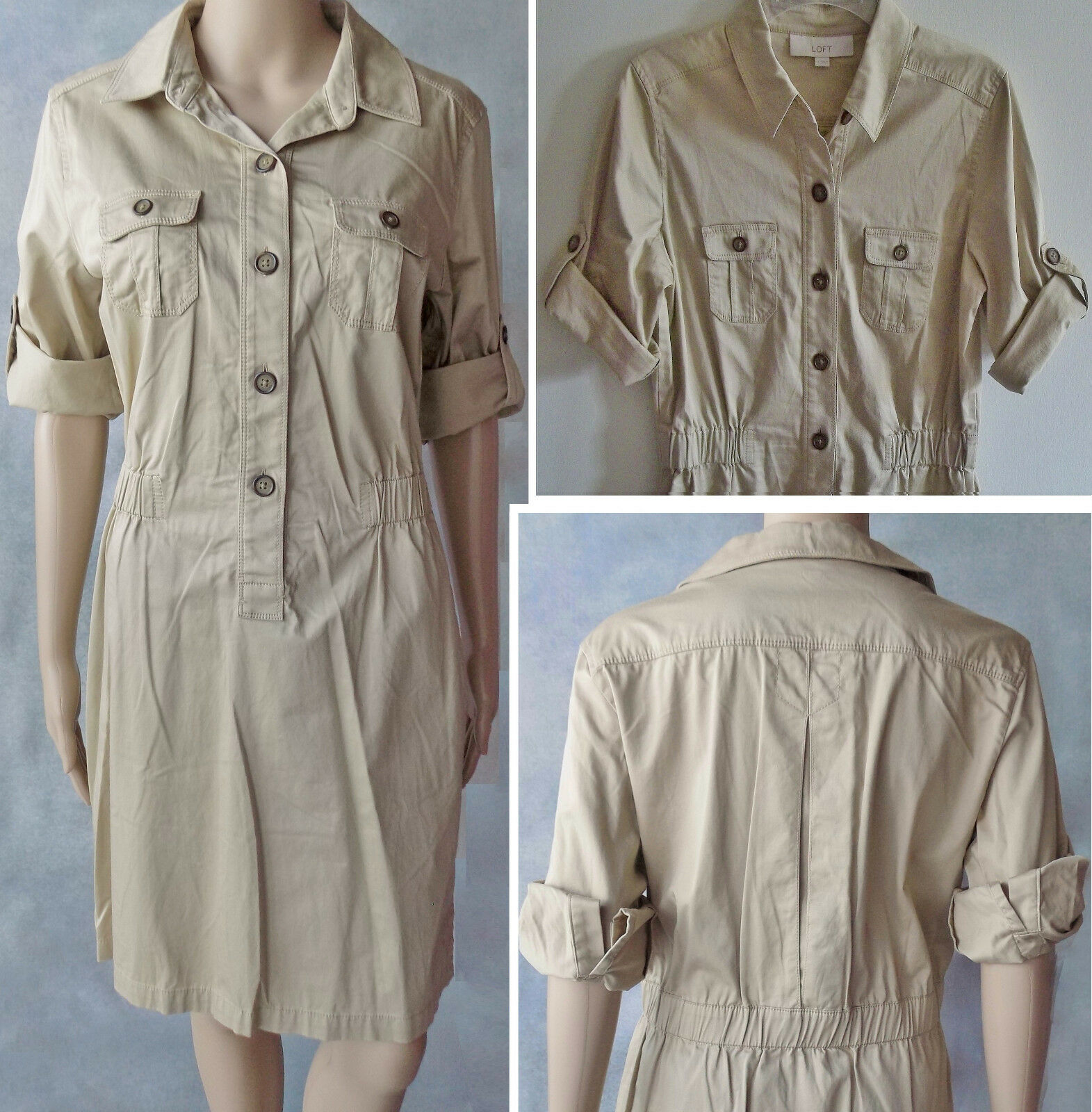 LIKENEW WORN ONCE  Ann Taylor Loft  Sateen Khaki Safari Stretch Dress Size M