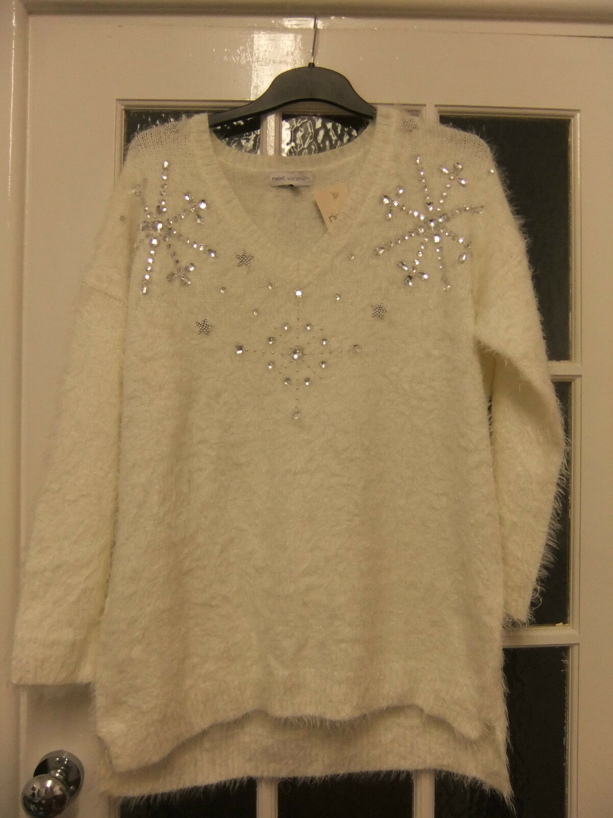 Nice cream maternity jumper with nice decor from Next to fit size 12 40.new.