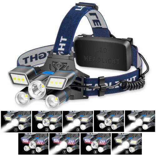 UK Super-bright 13000LM L2+2T6+COB LED Headlamp Headlight Torch Flashlight