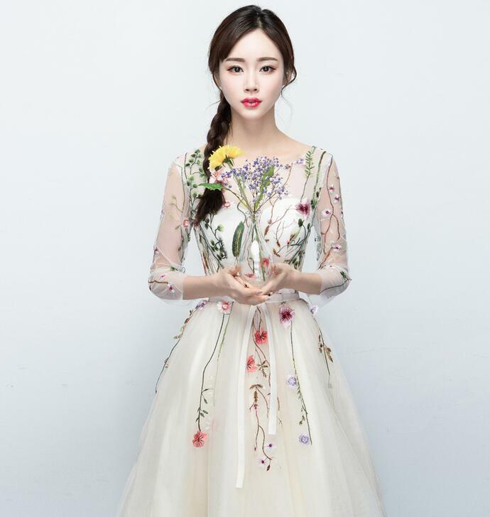 Ladies Wedding Champagne Embroidery Floral Long Sleeve Gown Prom Prom Prom Evening Dress fcdbfb