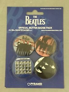 NEW-SET-OF-4-BUTTON-BADGES-THE-BEATLES-MUSIC-COVERS-PACKAGED