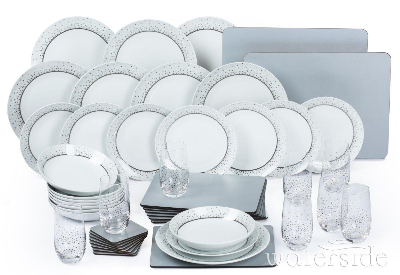 Set da cena 50pc piastra di porcellana Combo stoviglie stoviglie 8 coperto d'argento