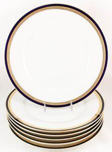 FINE-SET-6-DINNER-PLATES-FRAUREUTH-CHINA-67512-COBALT-BLUE-RAISED-GOLD-ENCRUSTED