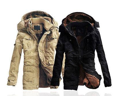 New Men's Fashion Fleece Faux Fur Winter Coat Hoodies Parka Overcoat Jacket