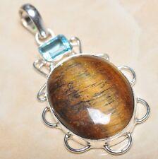 "Handmade Golden Tiger's Eye Gemstone 925 Sterling Silver Pendant 2.5"" #P03228"