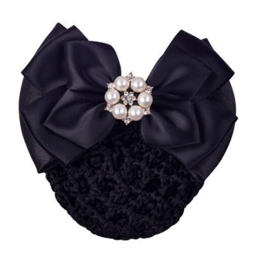 Satin Barrette Hairband Hair Accessories Bowknot Net Bun Snood Hair Clip Cover