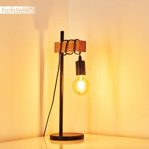 Holz Lese Nacht Tisch Lampe Leuchte schwarz Retro Wohn Schlaf Raum Beleuchtung