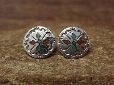 Yazzie Navajo Indian Jewelry Sterling Silver Chip Inlay Post Earrings by J