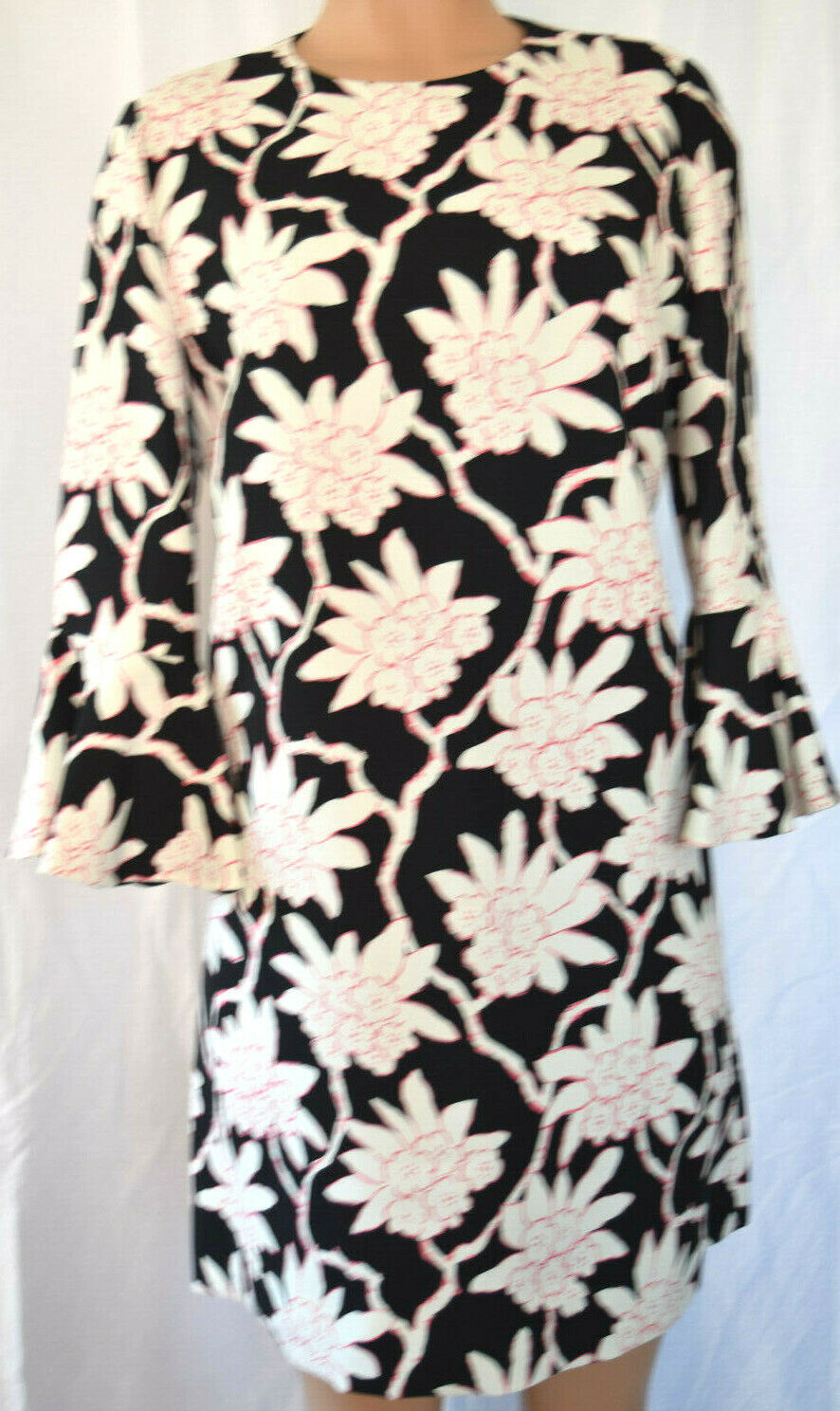 VALENTINO MULTI-COLOR FLORAL 3 4 BELL SLEEVES WIGGLE PENCIL DRESS SIZE 12