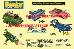 Dinky-Toys-Thunderbirds-Captain-Scarlet-Gran-Cartel-Anuncio-folleto-rotulo