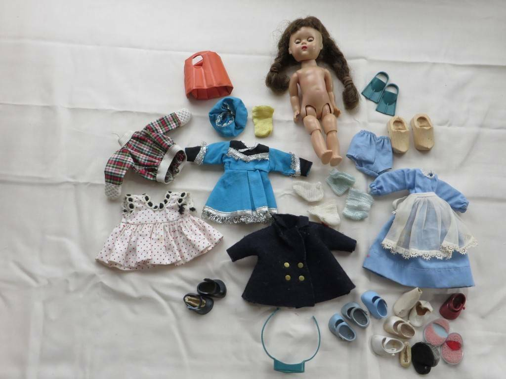Vintage Vogue Ginny Doll Lot Clothes schuhe Ginny Doll Brunette