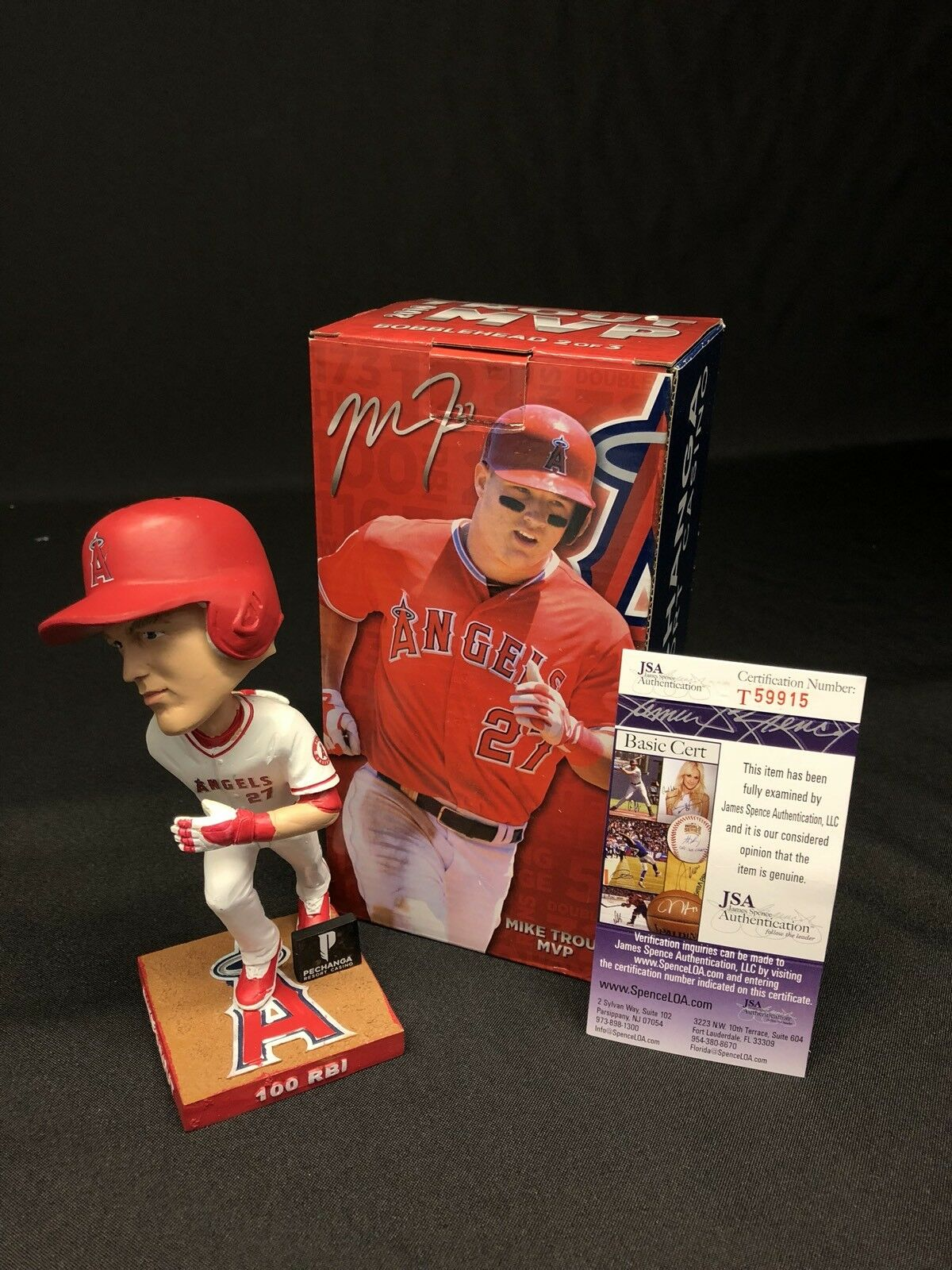 Mike Trout Signed 2016 Angels MVP Baseball Bobblehead 2 of 3 JSA T59915