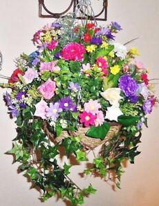 Artificial hanging basket silk flower handmade to order inoutdoor image is loading artificial hanging basket silk flower handmade to order mightylinksfo