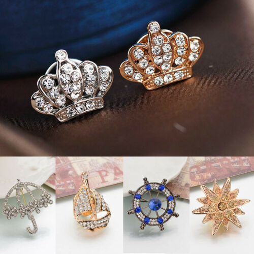Unisex Lovely Crown Crystal Blouse Shirt Anchor Leaf Brooch Pin Badge Jewelry