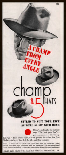 1943 A AD CHAMP HATS LA SALLE HAT CO CHAMP FROM EVERY ANGLE
