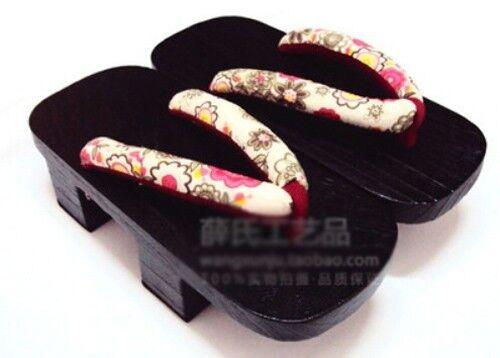 High-heeled Cosplay Japanese Printing Black Paint Yukata kimono Geta Sandal