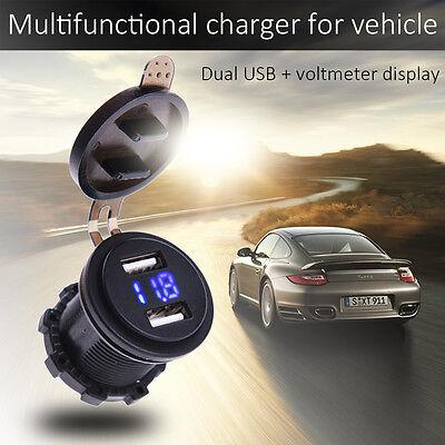 2 in 1 Blue Led Voltage Gauge Voltmeter Dual USB Charger for Car Motorcyle SUV