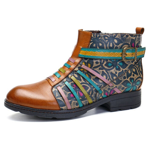 SOCOFY Women Retro Splicing Boots Stripe Flat Genuine Leather Buckled Shoes