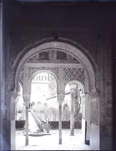 ESPAGNE-Grenade-Generalife-Alhambra-c1900-NEGATIF-Photo-Plaque-Verre-VR9L2n4