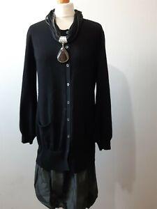 FABIANA-FILIPPI-WOMEN-039-S-BLACK-MERINO-WOOL-CASHMERE-SILK-BLEND-DRESS-SIZE-10-12