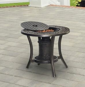 Details About Outdoor Cast Aluminum Fire Pit Table Propane Gas Patio Heater  Fireplace Backyard