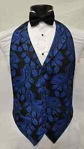 Mens Size Medium Royal Blue Vest Black Bowtie Tuxedo Paisley Cheap Tie Vintage