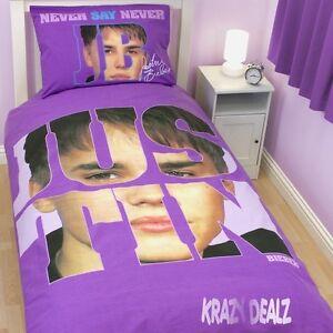 Justin-Bieber-Autograph-Single-Panel-Duvet-Cover-Bed-Set-Official-Bieleber-Gift