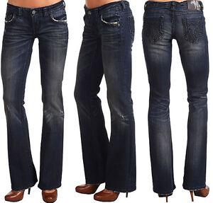 d6d53f3d633 MEK Denim Women s BEIJING Jeans Boot Cut - NEW - 26 x 34 - Dark Blue ...