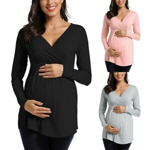 Women-Maternity-Long-Sleeve-Solid-Color-Nursing-Tops-T-shirt-For-Breastfeeding
