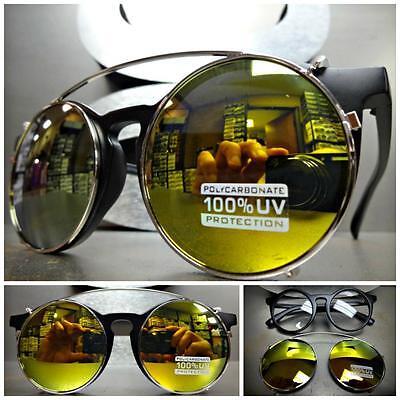 VINTAGE 60's Style Clear Lens CLIP ON SUN GLASSES Round Matte Black Silver Frame