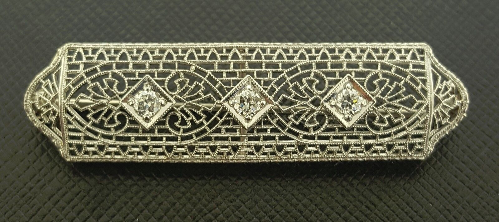 Antique Diamond Filigree Brooch Pin 14K White gold Vintage
